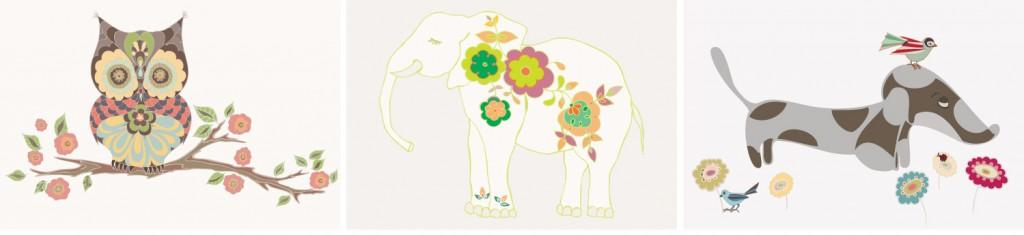 Nursery wall art little animals